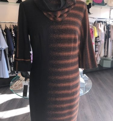 BADOO - Black and Copper Long Sleeve Dress with Detachable Collar