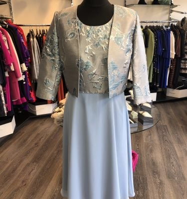ELLA BOO - Silver and Powder Blue Dress and Bolero with Diamante and Pearl Waist