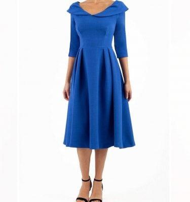 Diva Catwalk - Chesterton Swing Dress in Cobalt Blue