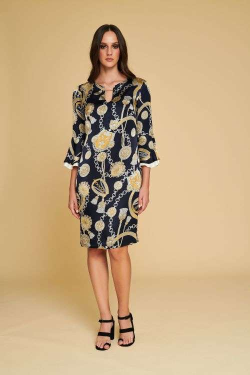 Badoo Navy and Gold Pattern Fluted Cuff Dress