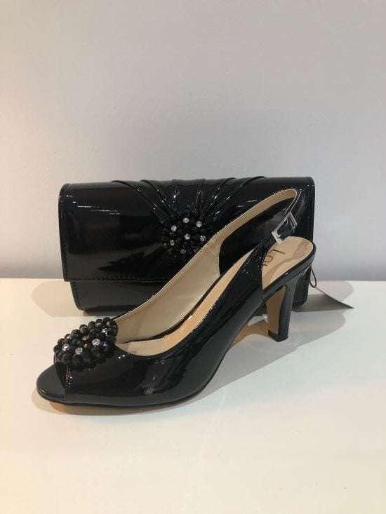 Lotus - Elodie Black Patent Sling Back Shoe