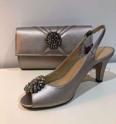 Lotus - Elodie Pewter Metallic Sling Back Shoes