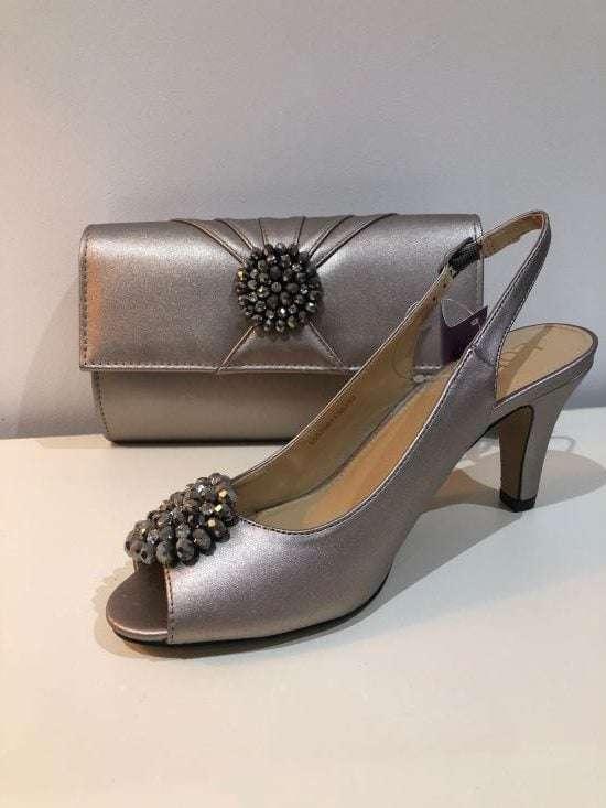 Lotus - Elodie Pewter Metallic Sling Back Shoes