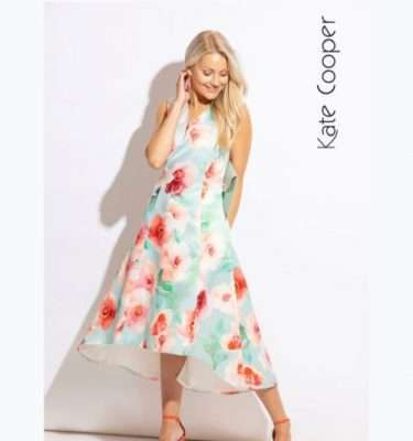 Kate Cooper - Sleeveless Floral Dress with Dipped Hem