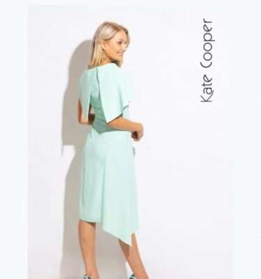 Kate Cooper - Mint Dress with Shawl Collar and Side Dipped Hem