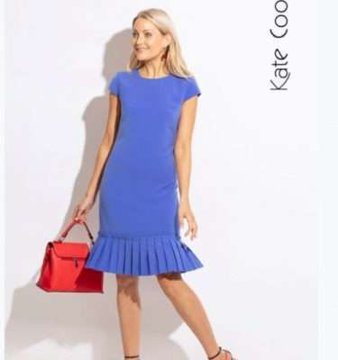 Kate Cooper Pleated Hem Dress in Cornflower
