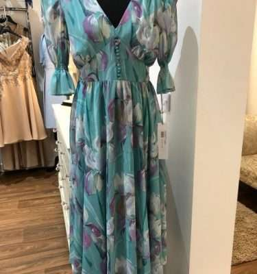Laura Bernal Button Bodice Dress with Full Skirt