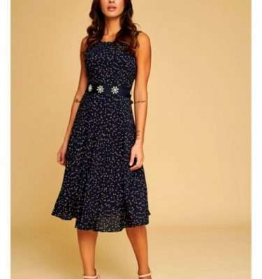 Badoo Navy Fit and Flair dress with Detachable Jewelled Belt