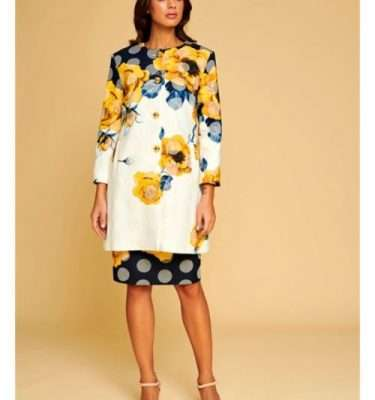 Badoo Floral Print Dress Coat with Gold Button Fastening