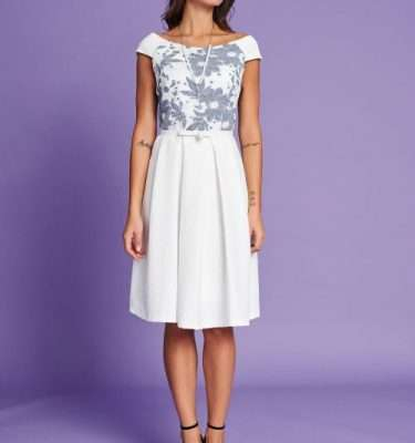Badoo Ecru Belted Flair Skirt Dress
