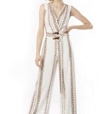 Camelot Belted Chain Pattern Jumpsuit