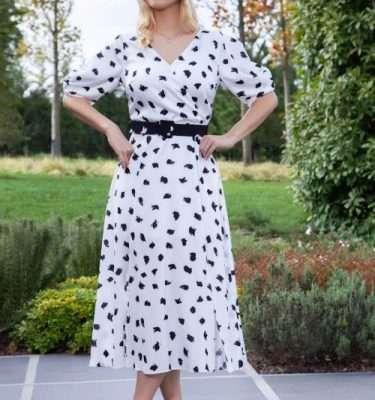 Ella Boo Print Belted Dress with Short Tulip Pleat Sleeve in Ecru or Black