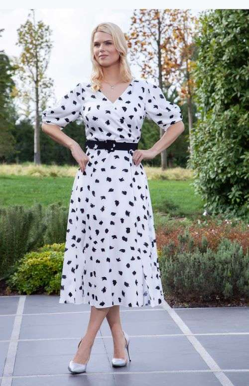Ella Boo Print Belted Dress with Short Tulip Pleat Sleeve in Ecru or Black