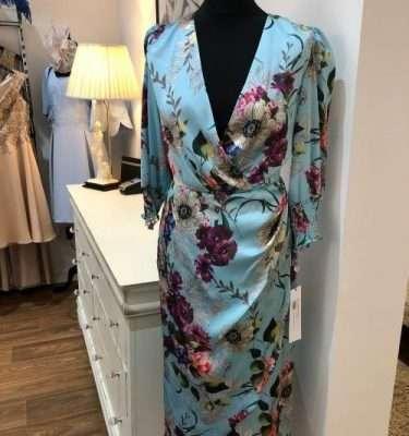 Laura Bernal Gerbera - Blue Floral Mock Wrap Dress