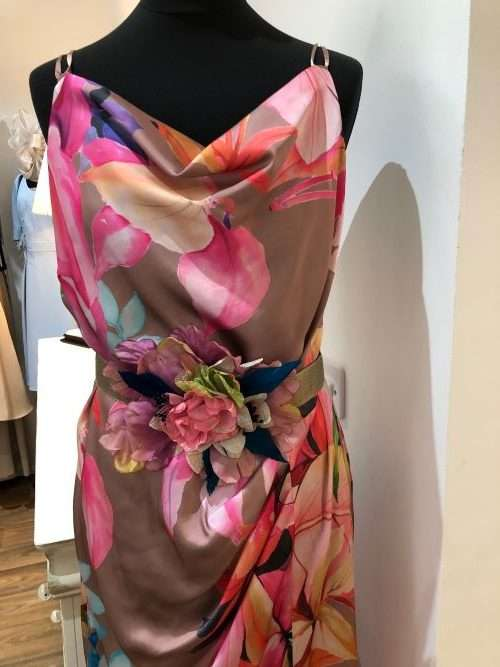 Laura Bernal Orchid - Multi Print Long Dress with Shoe String Straps and Ornate Belt