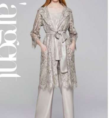 Camelot Pewter Lace Coat with Tie Belt