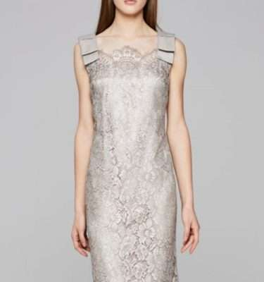 Camelot Pewter Lace Dress with Bow Shoulder