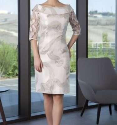 Ella Boo Gold Bardot Neck Dress with Lace Sleeve