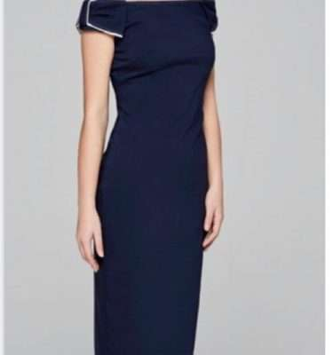 Camelot - Navy Stretch Fitted Dress with Bow Shoulder