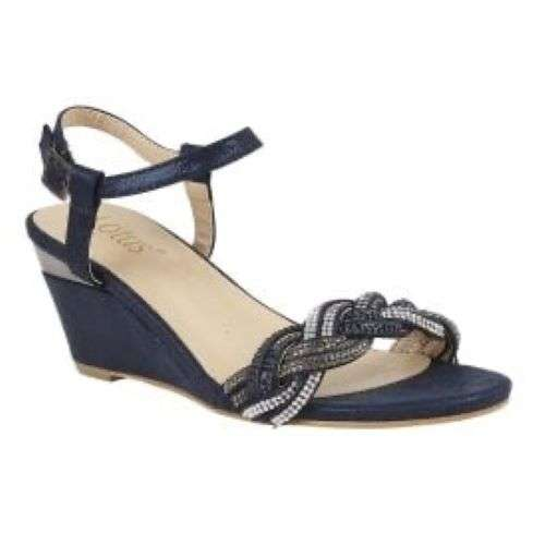Lotus - Josephine Navy and Diamante Sandals