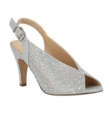 Lotus Silver & Diamante Calista Peep Toe Shoes