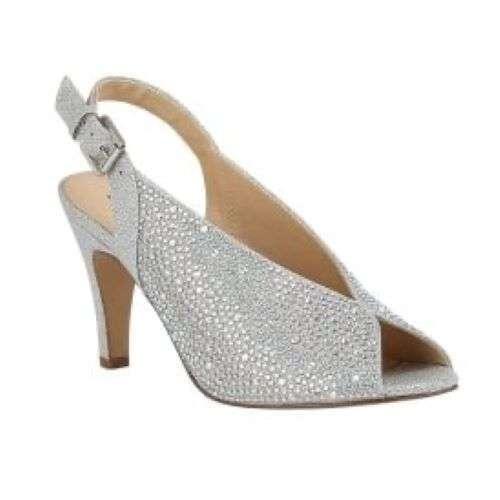 Lotus Silver & Diamante Calista Peep Toe Shoes