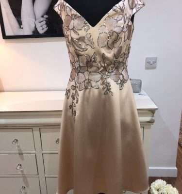 Camelot Gold Flair SKirt Dress with Sequinned Patterned Top