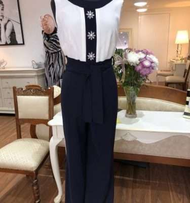 Badoo Navy and White Jumpsuit with a Central Diamante Flower