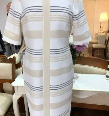 Camelot Short Sleeve Gold Stripe Dress