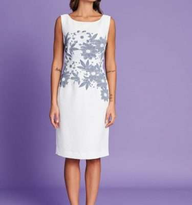 Badoo Ecru and Pale Blue Floral Print Dress