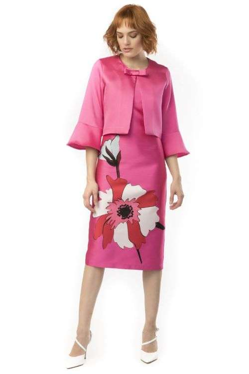 Camelot Pink Bow Shoulder Dress with Floral Skirt and matching Bell Sleeve Bolero Jacket