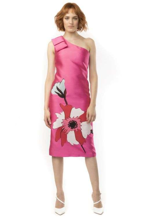Camelot Pink Bow Shoulder Dress with Floral Skirt
