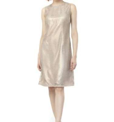 Camelot Gold Sleeveless Tunic Dress with Overlay Sequinned Mesh