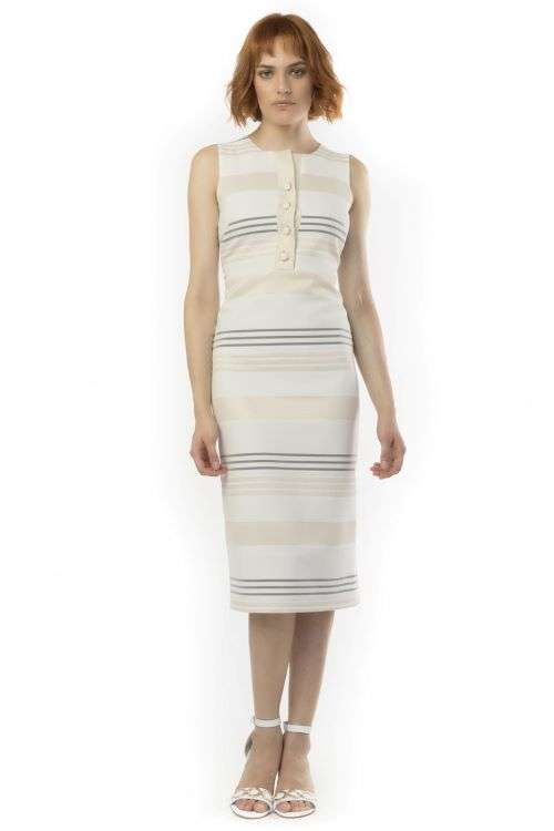Camelot Gold Stripe Sleeveless Dress