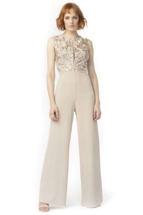 Camelot Sleeveless Jumpsuit with Wide Leg Trousers and Gold Lace Pattern Top