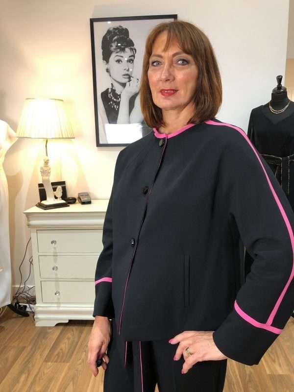 Badoo - Black Collarless Jacket with Pink Trim