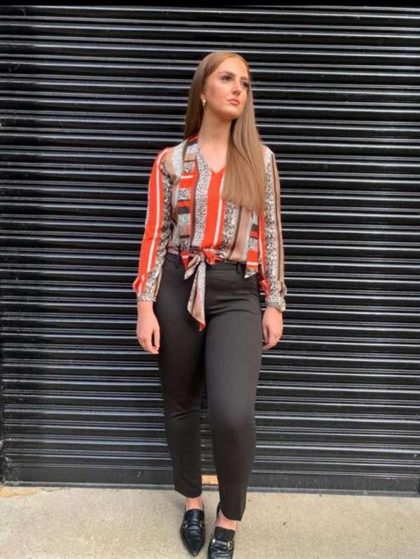 i'cona - Print Tie Neck Blouse/i'cona - Black Slim Leg Trousers with Print Scarf Belt