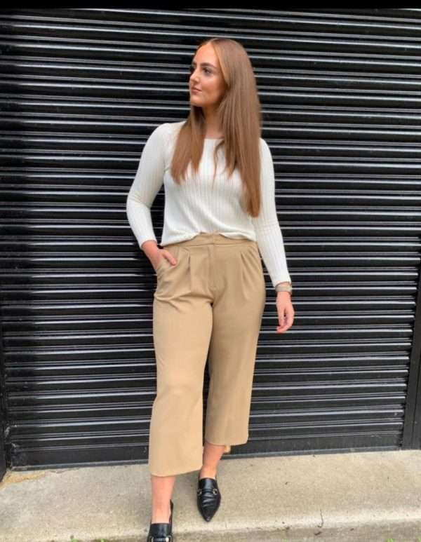 i'cona - Camel Cropped Trousers