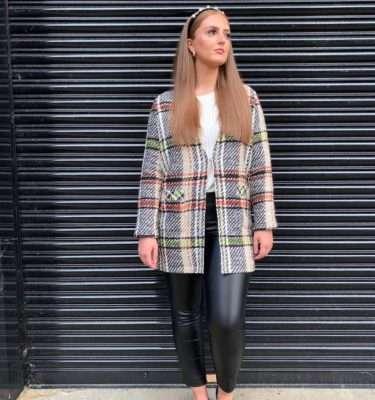 i,cona - Long Check Knitted Blazer