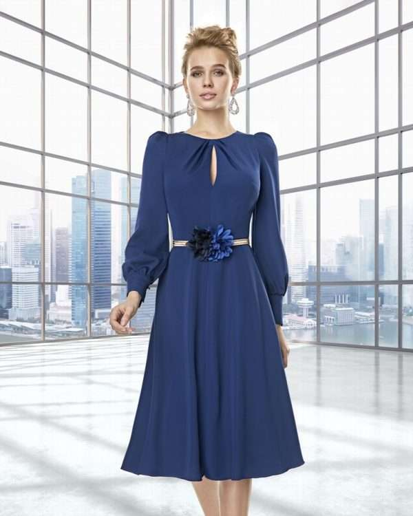 Sonia Pene - French Navy Long Sleeve Dress with Gold and Floral Belt