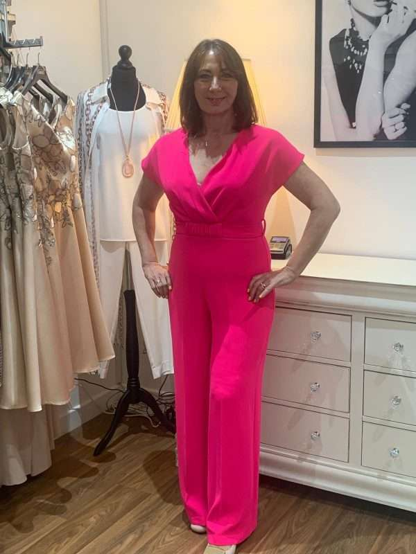 Ella Boo V Neck Jumpsuit with Tie Belted Waist - Available in Ecru, Hot Pink or Red