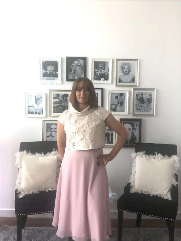 Ella Boo Sleeveless Chiffon Skirt Dress with Pink and Gold Bodice and Matching Bolero Top