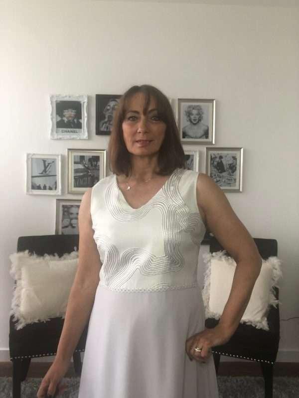 Ella Boo Silver Sleeveless Dress with Chiffon Skirt and Matching Silver Bolero