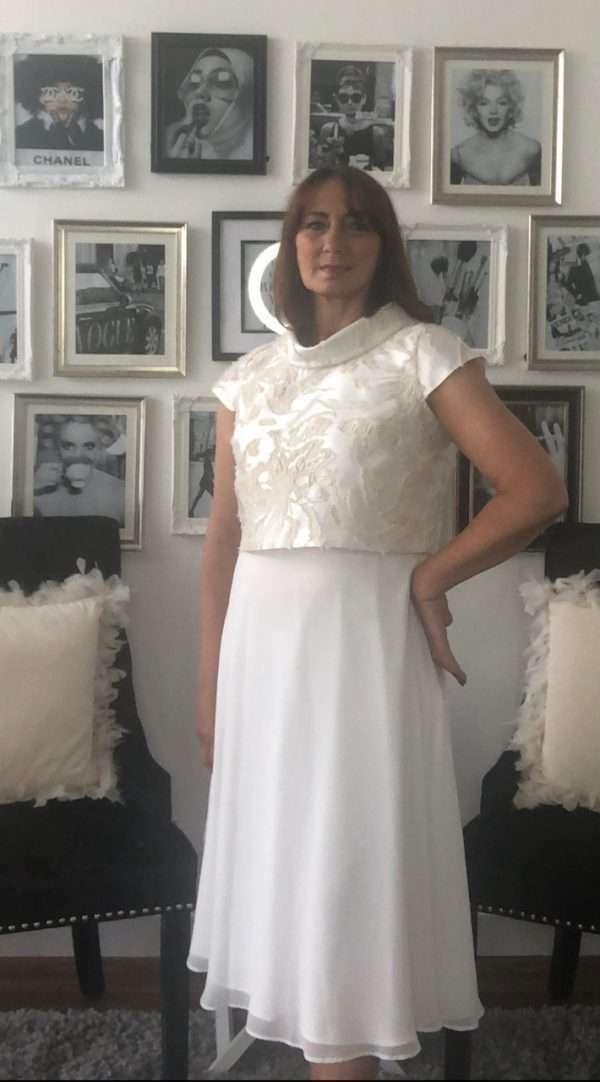 Ella Boo Sleeveless Dress with Chiffon Skirt and Matching Bolero in Champagne and Gold
