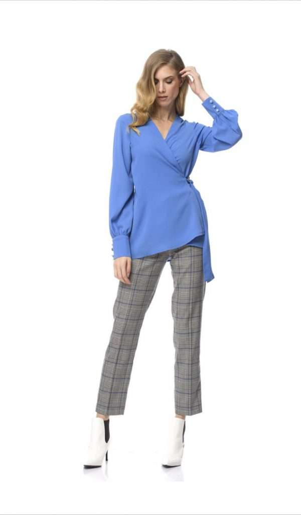 Camelot Blue Wrap Top with Double Button Sleeve Cuff