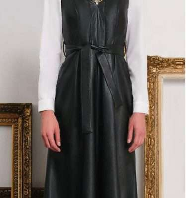 Camelot Sleeveless Faux Leather Dress with Tie Waist and Full Skirt