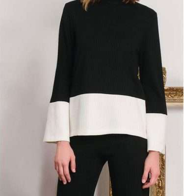 Camelot Knitted Black Top with Cream Contrast