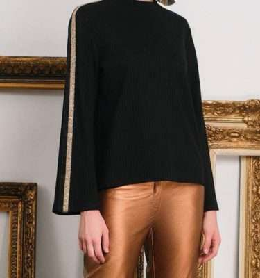 Camelot Jersey Knit Top with Wide Sequinned Stripe Sleeve