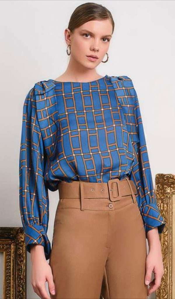 Camelot Long Sleeved Blouse with Gold Squares Design