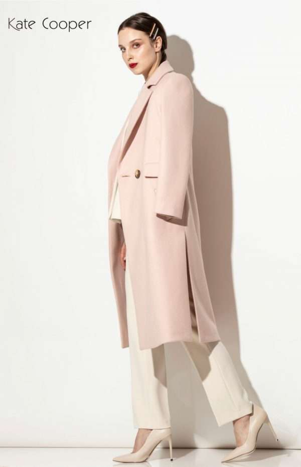 Kate Cooper Blush Wool Crombie Style Coat